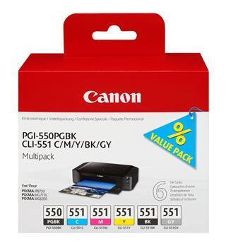 Fotos CANON PGI-550/CLI-551PGBK/C/M/Y/BK/GY MULTI PACK/VALUE PACK NON-BLI